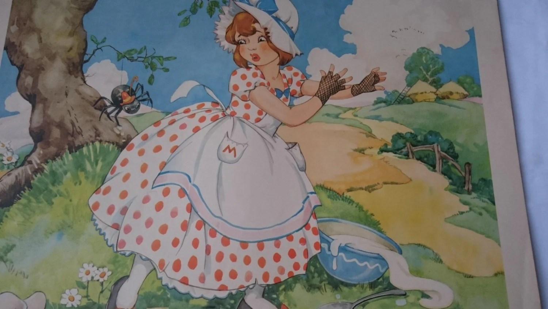 Vintage Little Miss Muffet Nursery Rhyme Children S Room