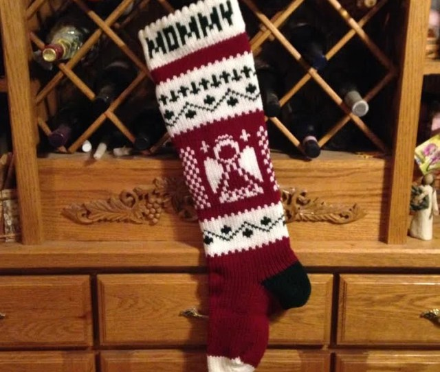 Christmas Stocking Stockings Personalized Knitted Angel Angels Wedding New Baby Moeggenborg Sugar Bush Unlined Lined