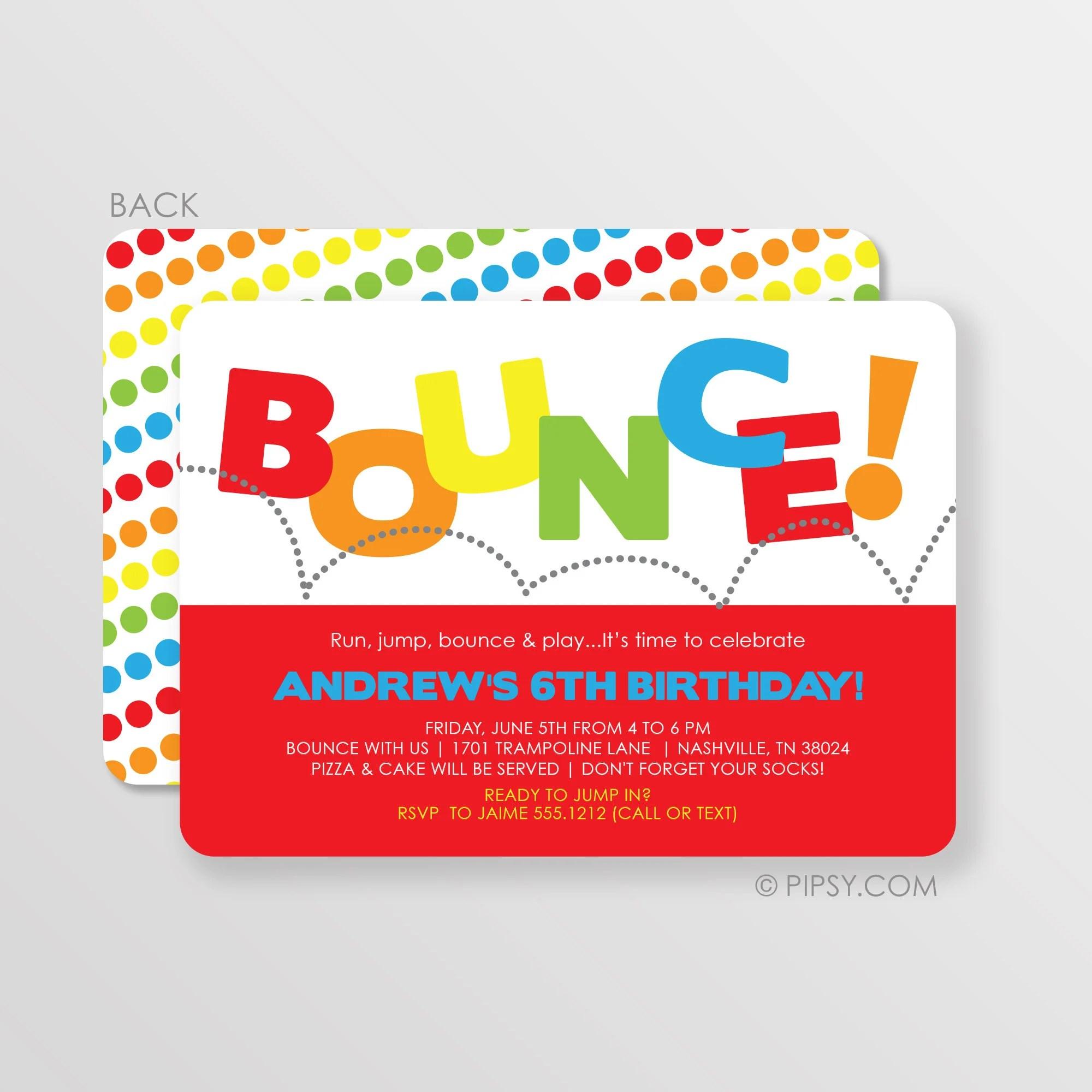 Bounce House Birthday Invitation Trampoline Party
