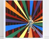 Collage Art Print // Rainbow Home Decor // Backgammon Boy
