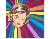 Rainbow Girl // Nursery Art // Collage Art Print // Bright Home Decor // Brunette