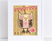 Owl Collage // Pink & Brown // Collage Art Print