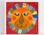 Collage Art Print // Red Home Decor // Lion
