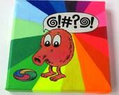 Rainbow Collage // Retro Video Game // Fluorescent Bright Home Decor