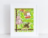 Collage Art Print // Liver Loaf Bug Girl // Bright Green Home Decor