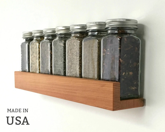 spice shelf modern wood low profile reclaimed wood kitchen etsy