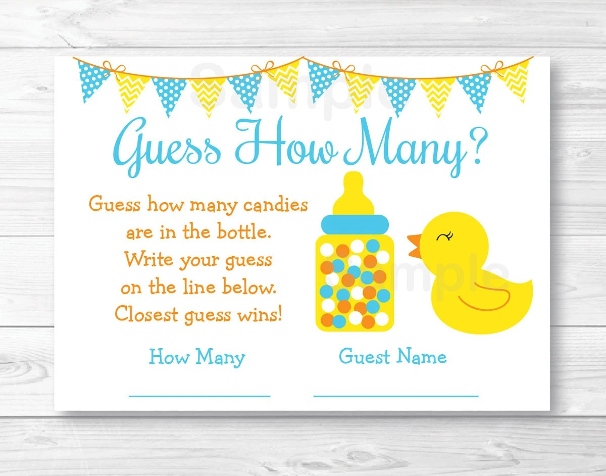 Rubber Duck Guess How Many Baby Shower Game Rubber Duck