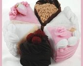 TEA CAKES - PDF Felt Food Pattern (German Chocolate, Black Forest, White, Confetti, Strawberry, Triple Layer, Cake Stand)