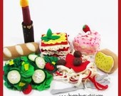 ITALIAN DINNER - Felt Food PDF Pattern (Lasagna, Spaghetti, Bread, Tiramisu, Salad, Candle)