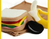 SACK LUNCH - PDF Felt Food Pattern (Sandwich, Chocolate Cookie, Banana, Peel and Sack)