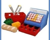 GROCERY STORE - PDF Felt Food Pattern (Cash Register, Basket, Bread, Cheese, Money)