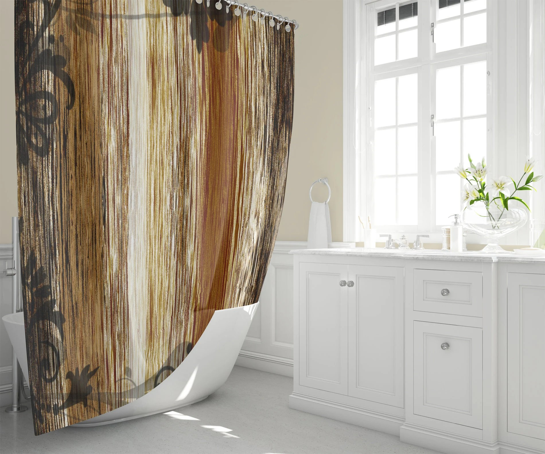 Brown Fabric Shower Curtain Rough Blended Lines And Graphic Black Scroll And Flower Pattern Modern Rustic Home Decor