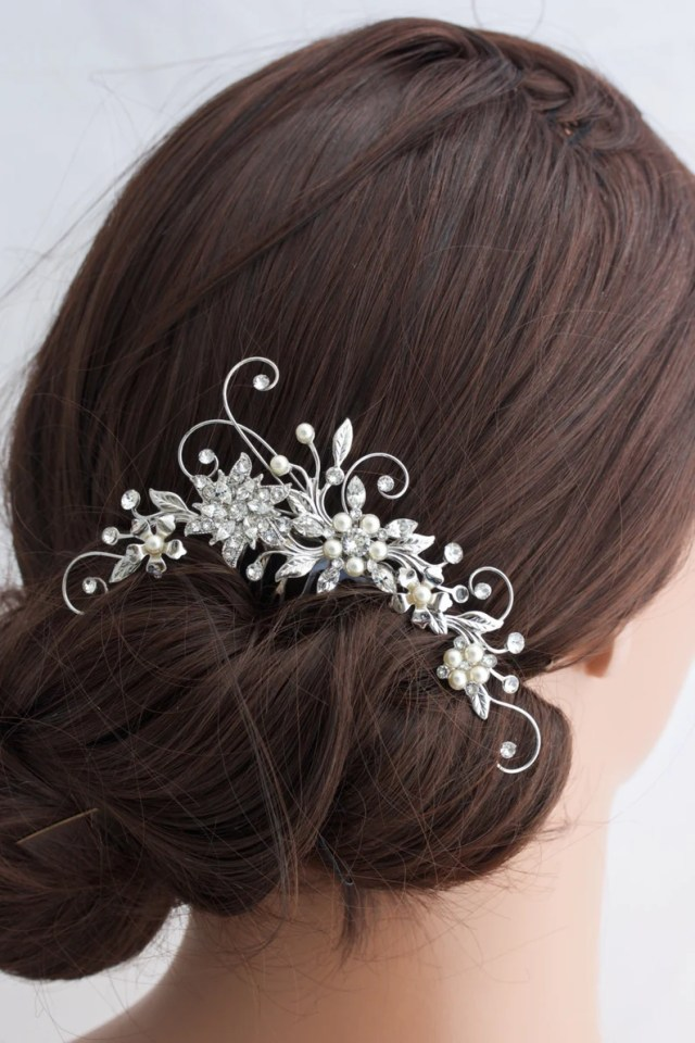 wedding hair comb crystal rhinestone flower bridal comb side comb vintage hair accessories tess deluxe comb