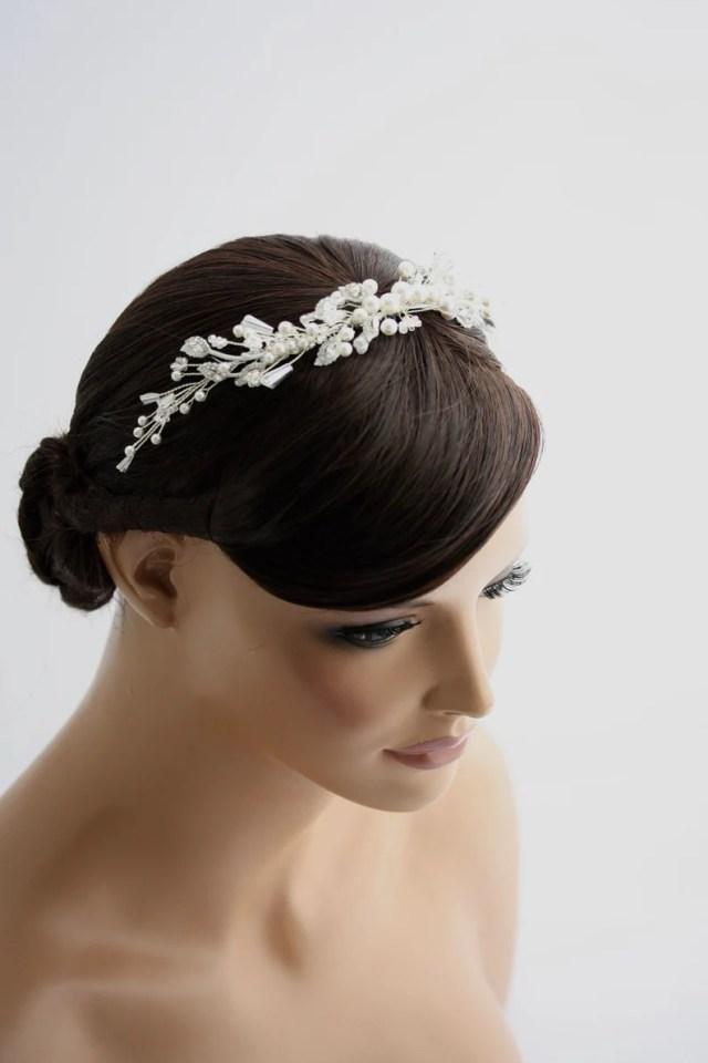beaded hair vine for wedding elegant pearl and crystal custom headpiece for brides minimalist head comb custom colours ireland