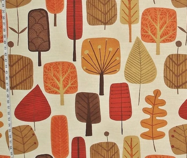 Scandinavian Tree Fabric Retro Orange Fall Autumn Leaf Leaves Mid Century Home Decorating Material Cotton Bty