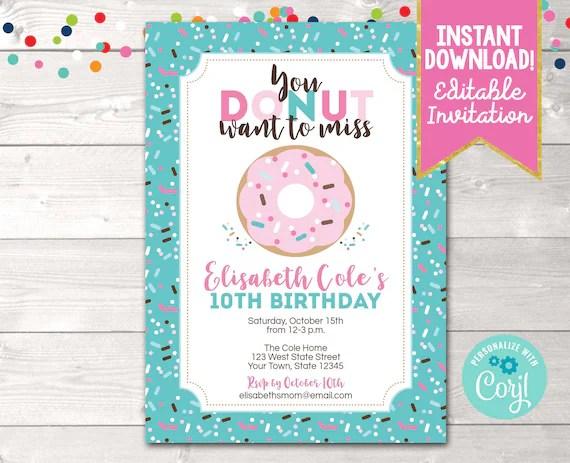 printable donut birthday party