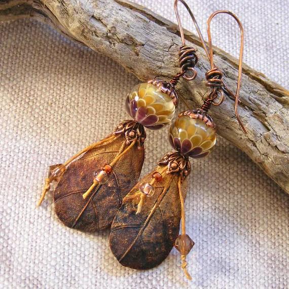 Copper Ombre Leaf Earrings