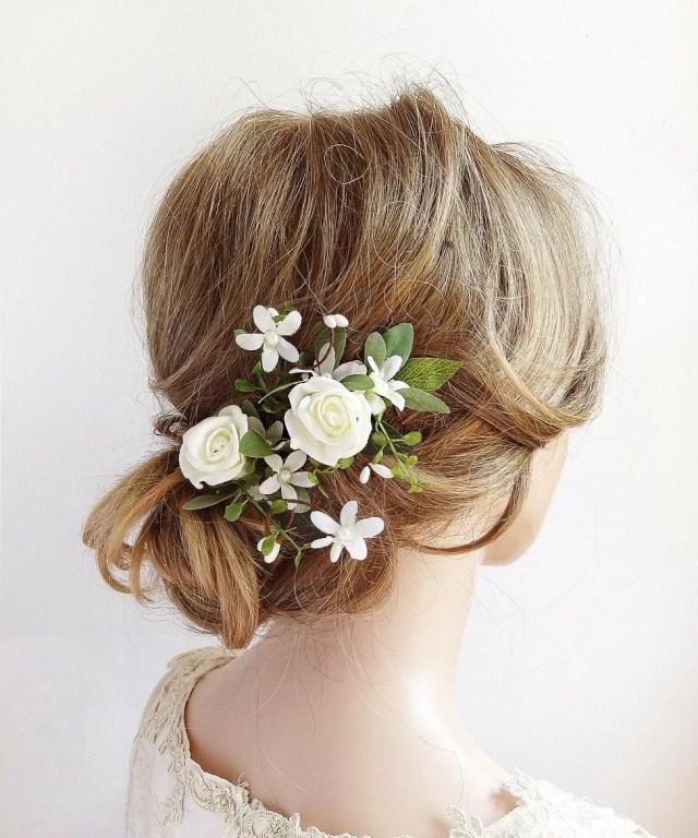 wedding hair accessories flowers, white rose hair clip, flower hair pins, bridal headpiece floral, greenery hair pins, white floral hair