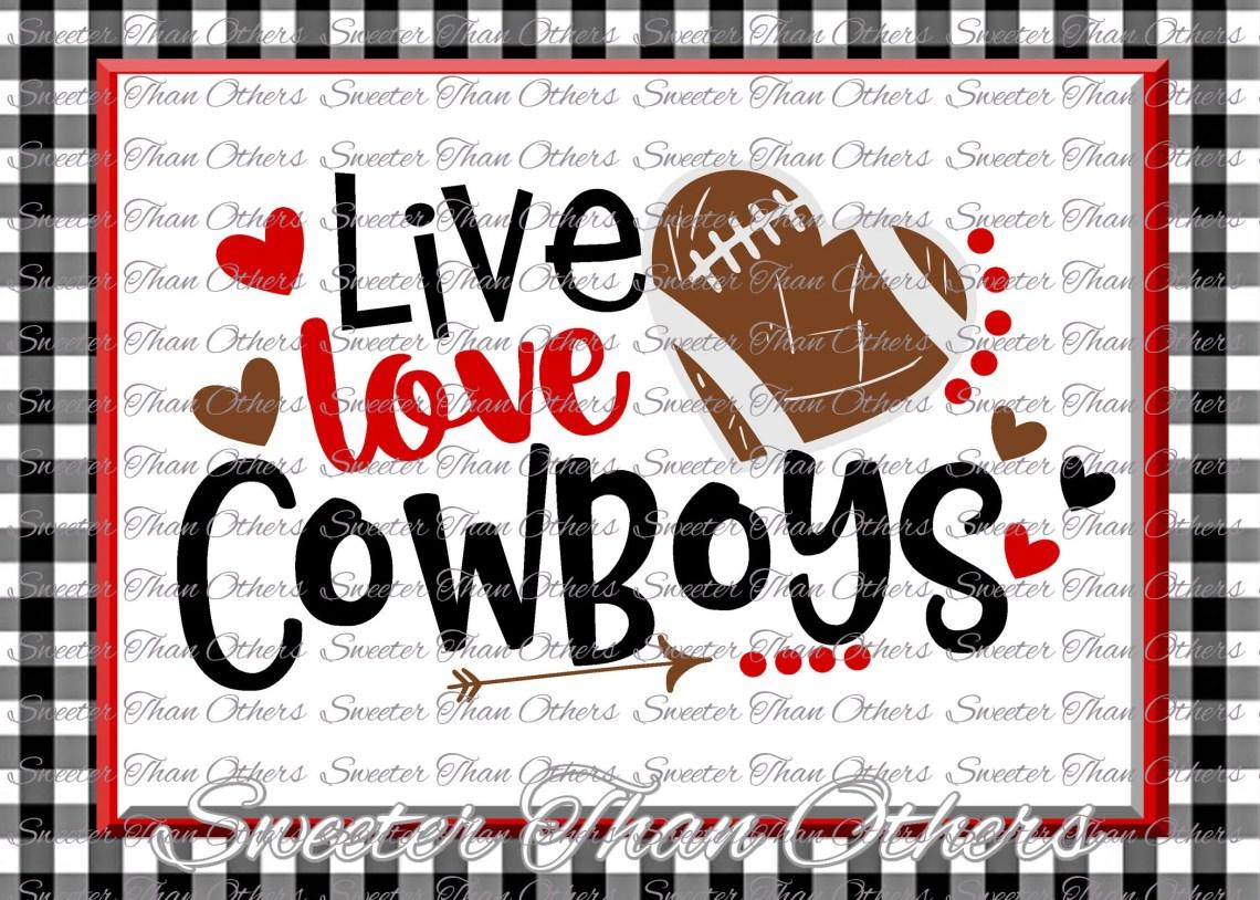 Download Football SVG Live Love Cowboys Football Svg Distressed | Etsy