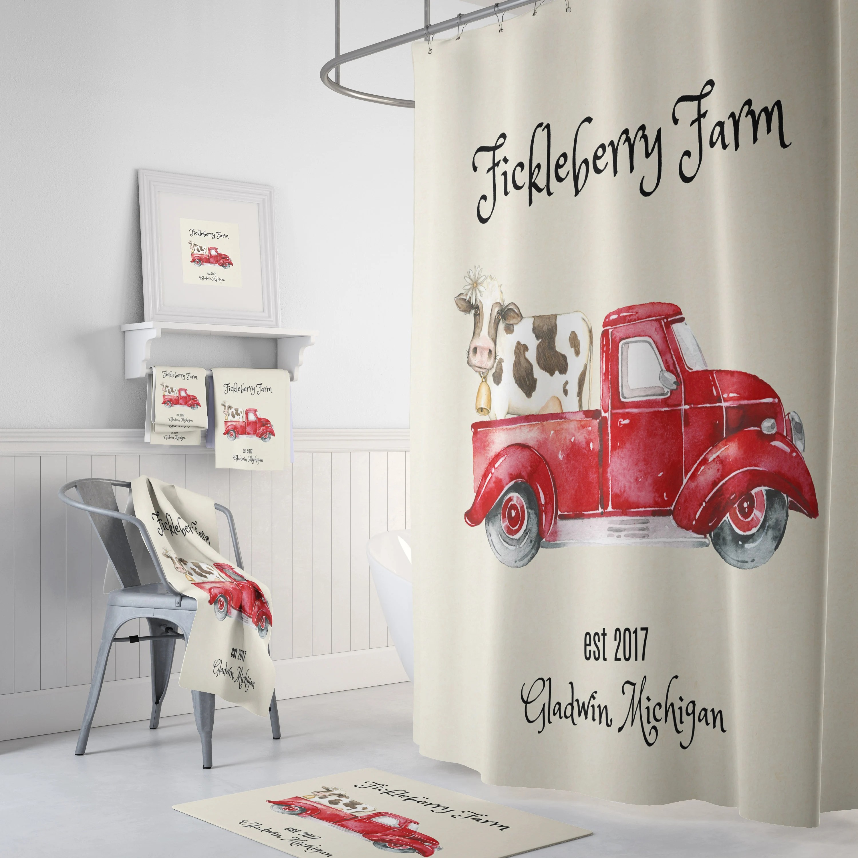personalized shower curtain vintage red truck with cow farmhouse shower curtain rustic country decor