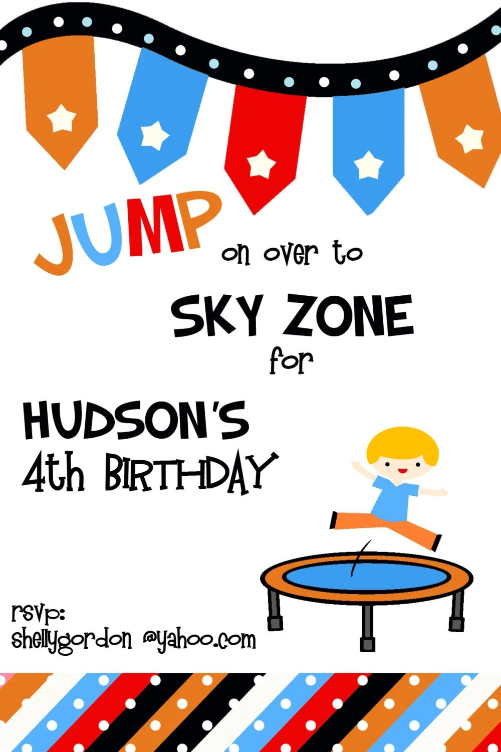 trampoline party invitation sky zone birthday invitation digial file print yourself jumping birthday party