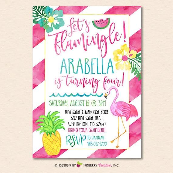 let s flamingle party invitation