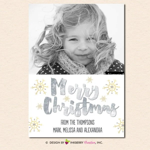 Silver And Gold Snowflakes Christmas Photo Card Digital