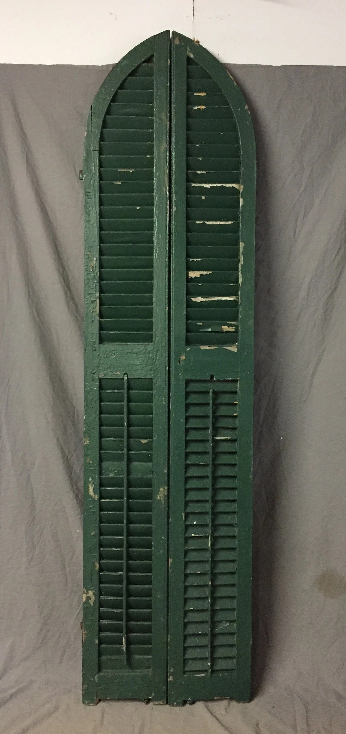 Pair Antique Green Arched House Window Wood Louvered Shutters 10x81 Shabby Vintage Chic 565 18