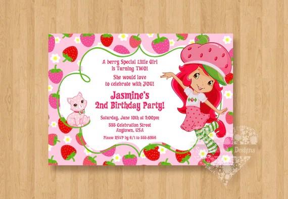 strawberry shortcake birthday party personalized invitation digital file polka dot adorable