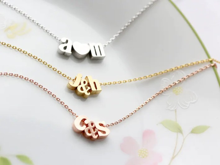 Initials Necklace with Ampersand or Heart  Gold Silver or image 0