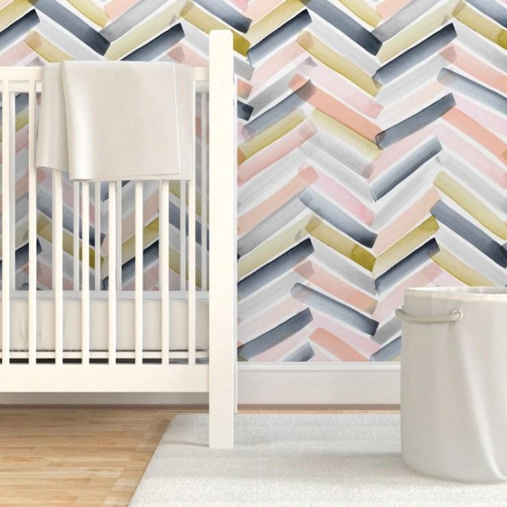 Chevron Wallpaper   Blush Navy By Crystal Walen  Modern Home image 2
