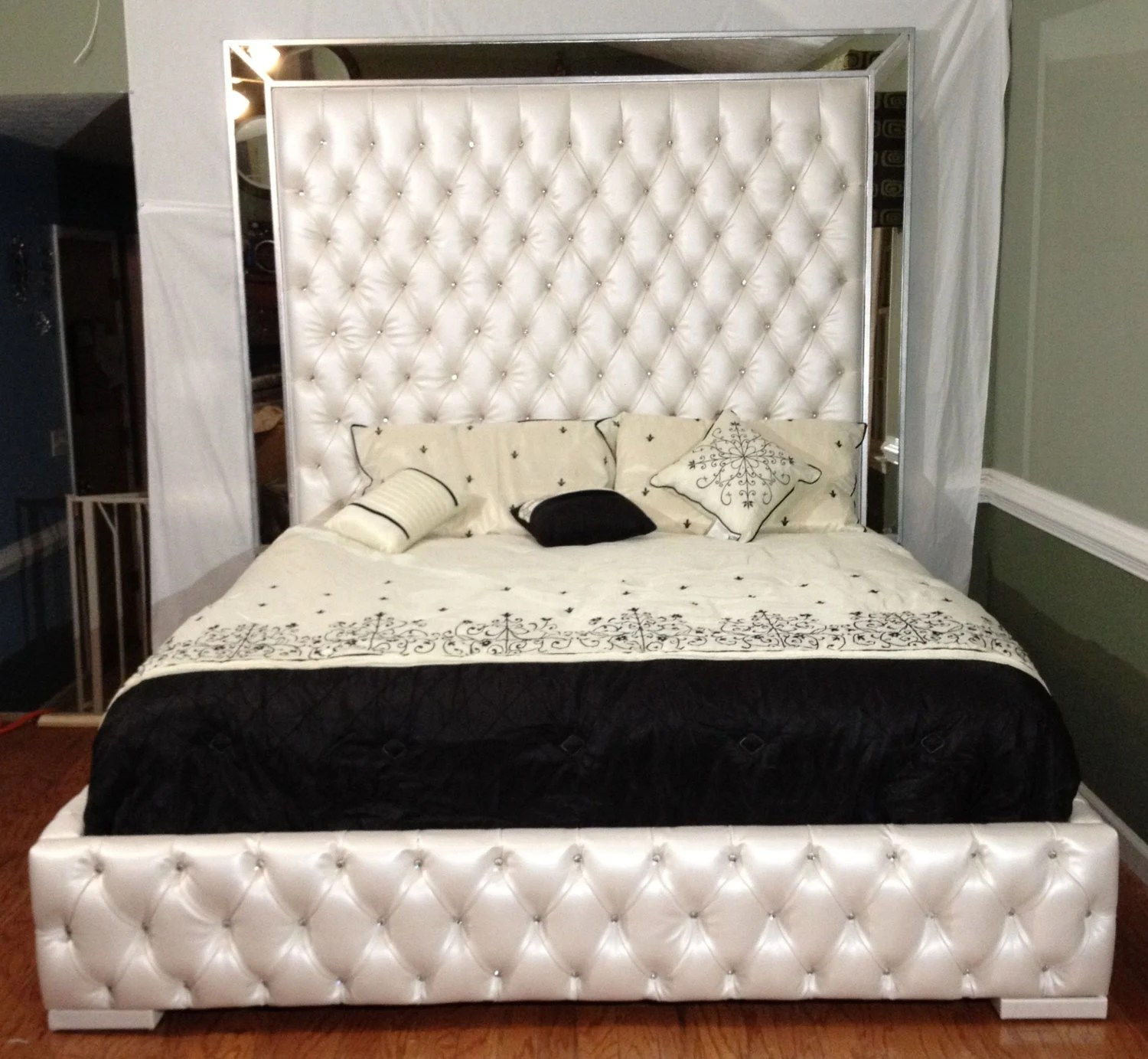 luxurious king tufted bed with mirrors and rhinestones bed with mirror tufted bed upholstered bed bedroom furniture custom bed king size bed