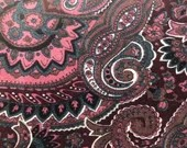 Vintage 1960s Purple and Teal Velvet Paisley Fabric Remnant