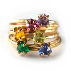 Stacking Birthstone Ring Trillion Cut Gemstone Stacking Ring image 0