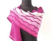 Hand knitted pink gradient wool shawl, hand knit superwash merino/nylon shawl, pink knit wrap, wool wrap, wool shawl.