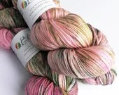 Hand dyed bamboo wool yarn, 80/20% superwash merino/bamboo 4ply/fingering/sock weight yarn.  Pink and green yarn, OOAK exclusive.