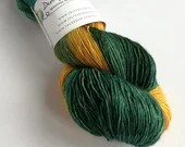 Hand dyed yarn, singles superwash merino 4ply wool yarn, variegated greens and gold, wool yarn, fingering, knitting, crochet, Rivendell yarn