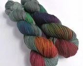 Hand dyed yak sock yarn, variegated sw merino/yak/nylon sock/4ply/fingering. Dark Winter Rainbow sock yarn, green fingering weight yarn.