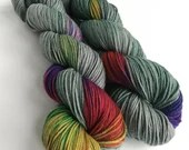 Hand dyed superwash extra fine springy merino DK wool yarn, Dusky green-grey and rainbow double knit for knitting and crochet. 115g/230m