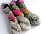 Hand dyed DK yarn, superwash Wensleydale and Teeswater double knit, British wool, Neon Mist, grey, hot pink, purple greens, yellow, speckles