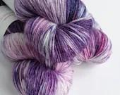 Hand dyed bamboo wool yarn, 80/20% superwash merino/bamboo 4ply/fingering/sock weight yarn.  Wayward - purple, pink and blue variegated yarn