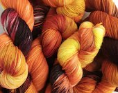 Hand dyed yarn pre-order.  Variegated autumnal yarn dyed to order, fall colour yarn, What Katie Did, oranges, brown - choose your own yarn.