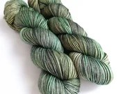 Hand dyed yarn superwash BFL/silk DK weight yarn.  Khaki green semi-solid, tonal double knit yarn, with hints of gold and grey.  OOAK.