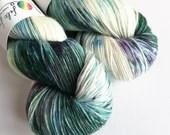 Hand dyed sock yarn, variegated 75/25% superwash BFL/nylon sock/fingering/4ply weight yarn, Ice dyed yarn, solar dyed yarn, teal and purple.