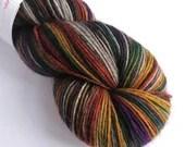 Hand dyed yak sock yarn, variegated sw merino/yak/nylon sock/4ply/fingering. Awesome As You Are sock yarn, dark rainbow sock weight yarn.