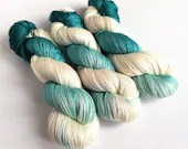 Hand dyed yarn, superwash BFL/silk 4ply/fingering weight yarn, indie dyed, silk blend wool yarn, Galadriel, teal and white hand dyed yarn.