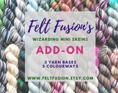 Hand dyed Wizarding yarn mini skeins pre-order ADD-ON 2.  5 new colourways in a choice of 3 yarn bases.