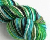 Hand dyed yarn, single ply superwash merino dk wool yarn, black, blue, green, double knit, knitting, crochet, variegated yarn, indie dyed