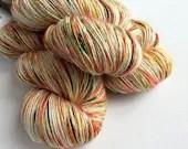 Hand dyed yarn, single ply merino/silk 4ply/fingering weight yarn. Molly yarn, autumn speckles, 1ply yarn, knitting crochet wool