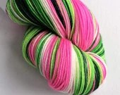 Hand dyed variegated 75/25% superwash merino/nylon sock weight fingering 4ply yarn in pink, greens and white - Whoville.